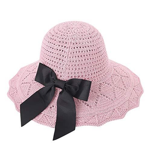 WUDUBE Sombrero protección Solar y Lazo Grande de Verano de algodón para Playa, Plegable, Rosa Rosa Talla única