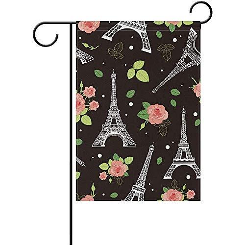 PQU Awesome Turm-Rosa-Rosen-Blumen-Bunte Flaggen-Fahnen Paris Schwarze Eifel für Hausgarten-Dekor 30cmx45cm