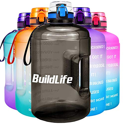 BuildLife Gallon Motivational Water Bottle Wide Mouth with Time Marker/Flip Top Leakproof Lid/One Click Open/Large BPA Free Capacity for Fitness Goals and Outdoor(Black, 1 Gallon) Arizona