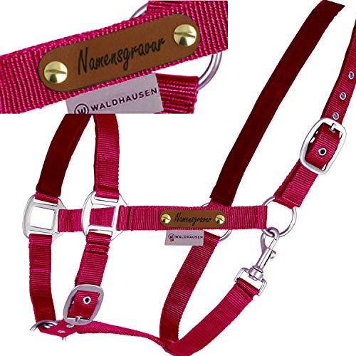 LiLa Pferd Pferde-Halfter Satin Bordeaux - mit Namensschild - 2fach verstellbar, unterlegt (WB)