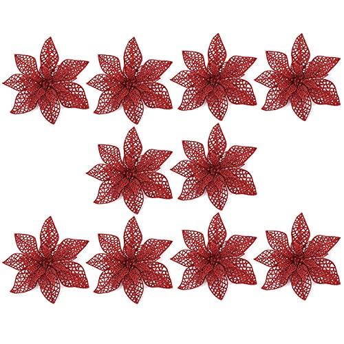 HanOBC 10 piezas de flores de Navidad con clips de 7.5 pulgadas con purpurina Poinsettia decoración de árbol de Navidad, flores artificiales rojas de Navidad para manualidades, guirnaldas