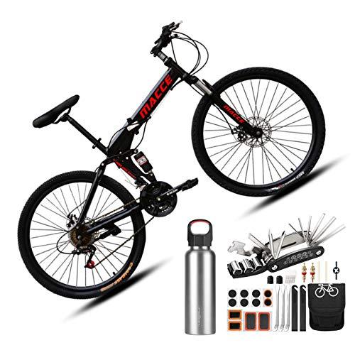 Bicicleta de Montana Plegable 26 Pulgadas Baratas Hombre,Bicicleta de montaña Plegable de 27 velocidades y Velocidad Variable, (Kit de reparación y Botella de Agua gratuitos * 1),Negro
