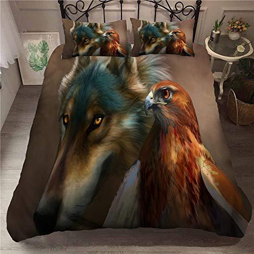 Smile Ensemble de literie pour lit de Couette pour Homme, 3 Lits Wolf Totem, lit Double Extra-Large ne Se décolore Pas, Confortable Microfibre hypoallergénique,01,King90.5×89.8in