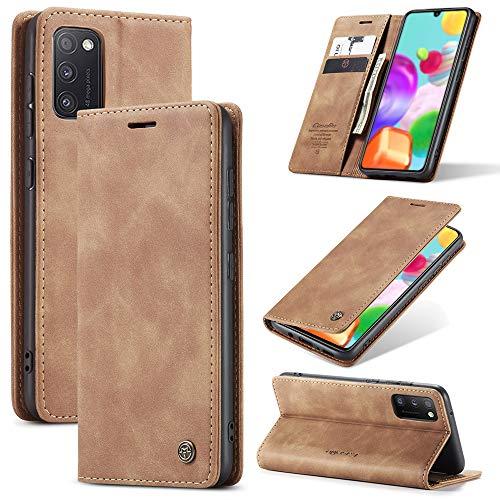 KONEE Hülle Kompatibel mit Samsung Galaxy A41, Lederhülle PU Leder Flip Tasche Klappbar Handyhülle mit [Kartenfächer] [Ständer Funktion], Cover Schutzhülle für Samsung Galaxy A41 - Braun