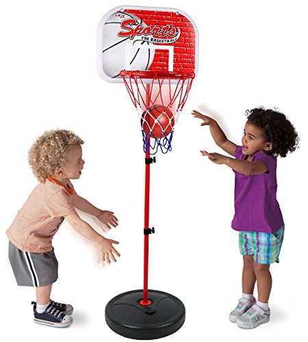 Kiddie Play Basketball Hoop for Kids Toy Set Adjustable Height Stand Up to 4 ft