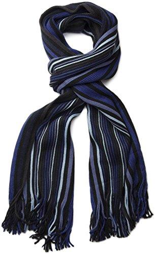 styleBREAKER Feinstrick Herrenschal im Streifen Look / Strickschal mit Fransen 01018117- Gr.One Size, Blau-Schwarz (V23)