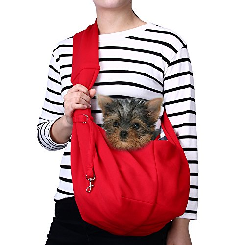 TOMKAS Small Dog Cat Carrier Sling Hands Free Pet Puppy Outdoor Travel Bag Tote Reversible (Red)