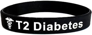 T2 Diabetes Bracciale in silicone nero con informazioni per emergenze mediche. 202mm wristband da uomo o donna, di Butler ...