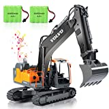VOLVO RC Excavator Remote Control Excavator 17 Channel 1/16 Scale Digger with 2 Batteries Remote Controlled Construction Car Truck 2.4Ghz Tractor Vehicles Toy with Lights and Sounds for Kids