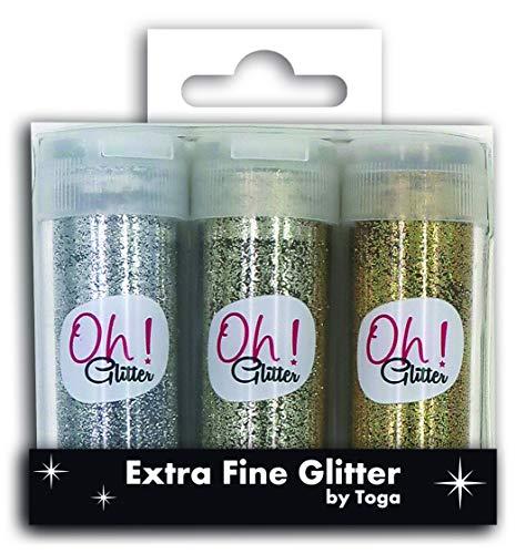 Toga Trio Glitter zoutvaatje extra fijn, zilver-champagne-goud, hoogte van een fles: 6,5 cm