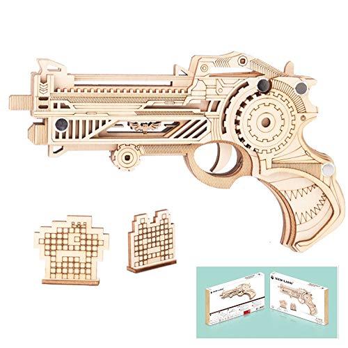 HFXZ2018 Gun Modellbausätze, DIY Holz-Gewehr mit Gummibänder, Holz BAU 3D-Puzzle Spielzeug geeignet für den Tag der Kinder/Weihnachten Geschenke