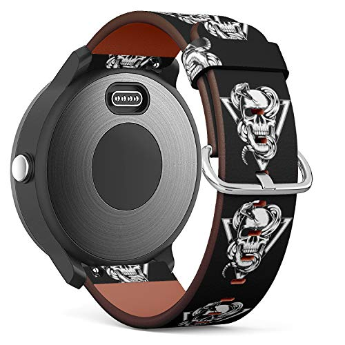 Replacement Leather Strap Printing Wristbands Compatible with Garmin Vivoactive 3 / Vivoactive 3 Music/Vivomove - Skull with Snake Vector Illustration