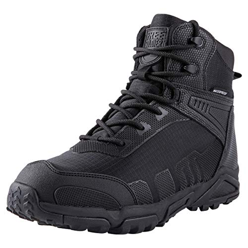 FREE SOLDIER Botas De Escalada Tacticas Hombre Botas Militares Transpirables Botas De Seguridad Hombre Trabajo Ligeros Zapatos De Montaña Trekking(Negro,41 EU)