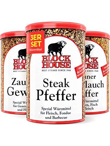 Block House Gewürze zum Grillen Grillset - Zaubergewürz 280g Steak Pfeffer 200g Grüner Knoblauch Pfeffer 200g