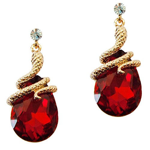 Navachi 18k Gold Plated Crystal Red Zircon Snake Drop Dangle Earrings