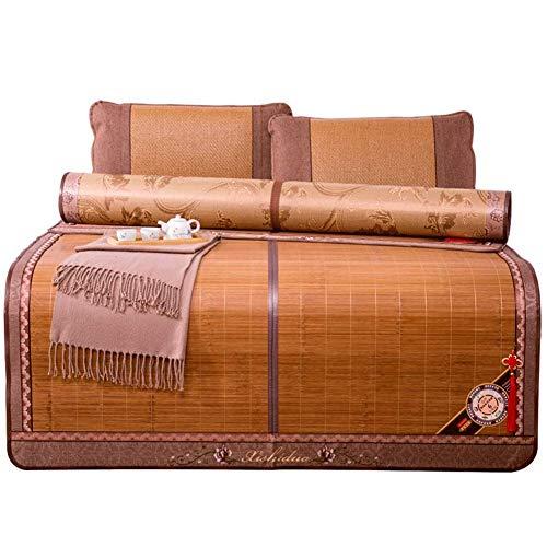 Koeling topper matras matrassen koeling beddengoed bamboe mat zomer slaapmatten bedmat slaapkamer studentenwohnheim kamer opvouwbaar met kussensloop 7 maten (grootte: 1,5 x 1,95 m)