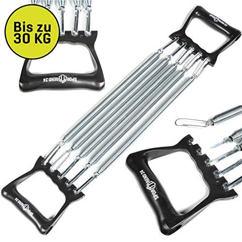 Sporttrend 24, Profi Expander schwarz, Widerstandsband 5-Fach verstellbar mit abnehmbaren Stahlfedern, Widerstand bis zu 30kg