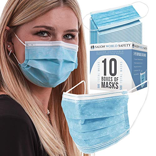 TCP Global Salon World Safety - Face Masks 10 Boxes (500 Masks) Breathable Disposable 3-Ply Protective PPE with Nose Clip and Ear Loops
