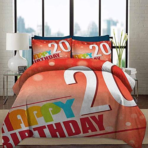 Juego de funda nórdica para ropa de cama para 20 cumpleaños, funda suave para ropa de cama, rayos de sol abstractos con fondo de color rojo y bermellón, juego de cama de 3 piezas decorativo para fiest