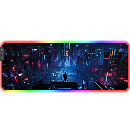 Bimormat Anime RGB Gaming Mouse Pad,Large LED Mousepad with Durable Nylon Stitched Edges and Non-Slip Rubber Base,31.5X 11.8 Inch Glowing Game Mouse Mat for Personalized Gamer (80x30 neoncity01)