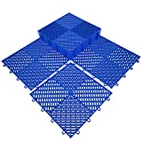 HYSA MAT Modular Durable Interlocking Cushion Garage Tiles,PP Anti-Slip Flooring Snap Together Drainage Mats for Outdoor Indoor,Blue,Set of 9-12.5 x 12.5 inches