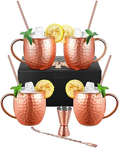 D/N Bicchieri Moscow Mule Rame, Set 4 Tazze 550 ml Moscow Mule Mug con 4 Cannucce, Agitatore 2-in-1, Jigger, Hammered, Doppia Parete, Bicchieri per Cocktail, Bevande Fredde, Vodka, Regalo