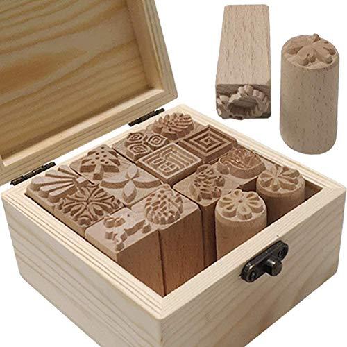 Umora陶芸道具 印鑑 16枚セット 粘土 模様 木製 モールド プリント 装飾 設計 DIY