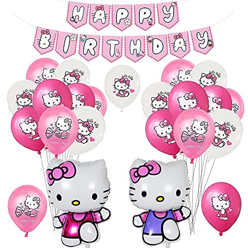 Decoración de Fiesta de Cumpleaños de Hello Kitty Globos Pancarta de Feliz Cumpleaños Globos Aluminio para Niños Decoracion Cumpleaños Hello Kitty