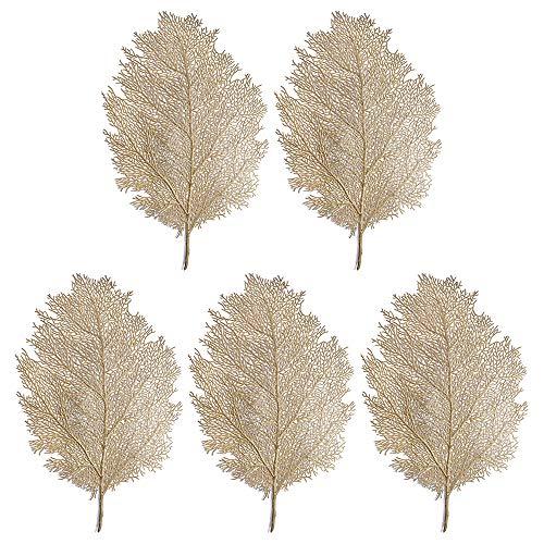 Takefuns 5 manteles individuales con forma de rama de coral, decoración de mesa de Navidad, Año Nuevo, alfombrilla de café, camino de mesa de hojas artificiales para el hogar