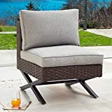 PatioFestival Patio Sofa X Shape Leg Outdoor Wicker Armless Chair with All Weather Steel Galvanized Steel Frame