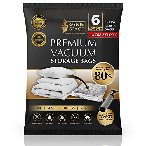 GENIE SPACE - Incredibly Strong Premium Space Saving Vacuum Bags Storage | 6 x EXTRA LARGE - 100x80cm | Airtight & Reusable | Create 80% more space | For Clothes, Towels, Bedding, Duvets and more