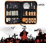 2021 decoración de Halloween otoño partido talla kit de herramienta de 14 piezas de halloween calabaza que talla herramienta de madera de calabaza talla de acero inoxidable cuchillo de talla del molde
