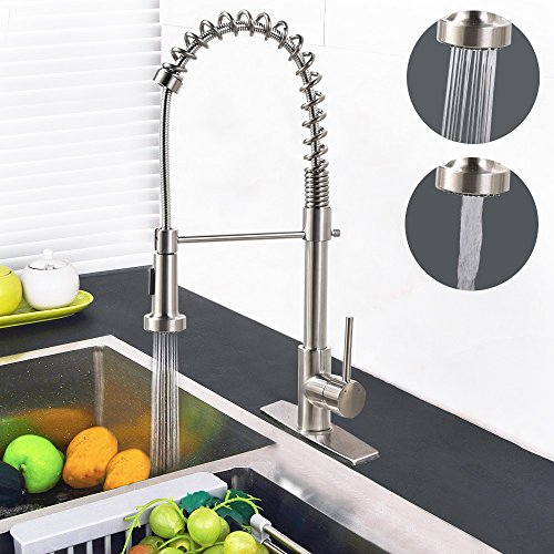 Single Handle Commercial Kitchen Faucet Hippih Leadfree Kitchen Sink Faucet Pull down amp Pull Out Sprayerhead with 2 Flows Deck Mounted Included