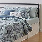 AmazonBasics 10-Piece Comforter Bedding Set, Full / Queen, Sea Foam Medallion, Microfiber, Ultra-Soft