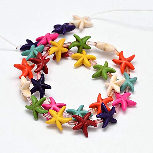 Pandahall 250pcs/10strands Starfish Stone Beads Strands Multicolor Star Fish Synthesis Turquoise Loose Gemstone Beads Spacer for Boho Beach Surfer Bracelet Necklace Choker Jewelry Making Supplies