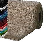 casa pura Badematte Hochflor Sky Soft | Weicher, Flauschiger Badezimmerteppich in Shaggy-Optik | Badvorleger rutschfest waschbar | schadstoffgeprüft | 16 Farben in 6 Größen (60x100 cm, beige)