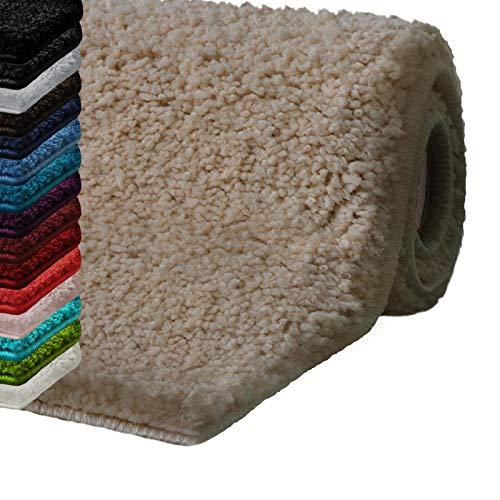 casa pura Badematte Hochflor Sky Soft | Weicher, Flauschiger Badezimmerteppich in Shaggy-Optik | Badvorleger rutschfest waschbar | schadstoffgeprüft | 16 Farben in 6 Größen (50x80 cm, beige)