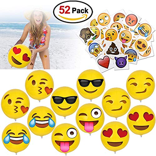 """Howaf 12 """"Emoji Pelota Hinchable Pelotas de Playa Playa Piscina Juguete y Emoji Tatuajes temporales Pegatina para Adultos Niños Niñas Infantiles Cumpleaños Regalo Bolsas Relleno Piñata, 52 Pieza"""