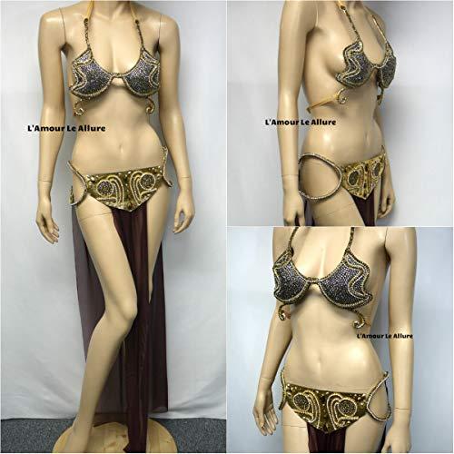 Ready to Ship Star Wars Princess Leia Slave Diamond Samba and Skirt Rave Bra Costume