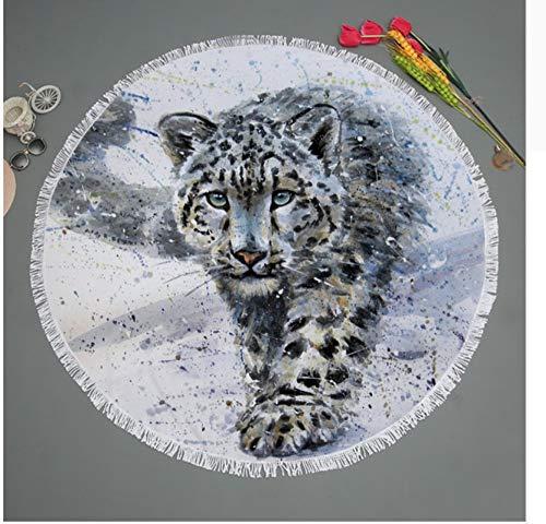Vanzelu Tiger im Schnee gedruckt Mikrofaser Runde Strandtuch Badetücher für Erwachsene Kinder Yoga Mat Quasten Decke Home Decor Picknick Matte 150x150cm im Freien