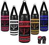 JAYEFO Kids Punching Bag Boxing Gloves Set for Children Boxing MMA Kickboxing Muay Thai Karate Punching Kick Ages 3-9 (Black/RED)