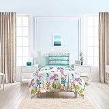 dream FACTORY Kids 5-Piece Complete Set Easy-Wash Super Soft Microfiber Comforter Bedding, Twin, Light Blue Mermaid Dreams