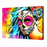 Colorful Santa Muerte Poster Hd Print On Canvas Painting Wall Art for Living Room 18x24inch(45x60cm) Framed