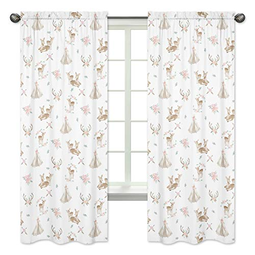 Sweet Jojo Designs Blush Pink, Mint Green and White Boho Window Treatment Panels Curtains for Woodland Deer Floral Collection - Set of 2