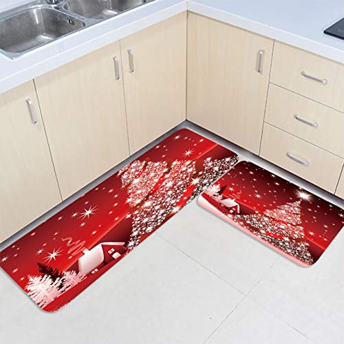 2 Piece Kitchen Rug Sets Non-Slip Red Merry Christmas Tree Bright Country Winter Farmhouse Decorative Area Runner Rubber Backing Carpets Floor Doormat