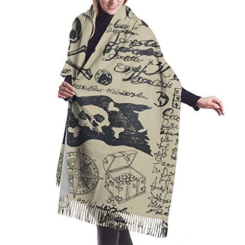 Patrón sin costuras en patrón vintage pirata 3D de invierno de las mujeres de cachemir borla bufanda súper suave cálida acogedora chal envolvente bufandas para mujeres niñas y hombres