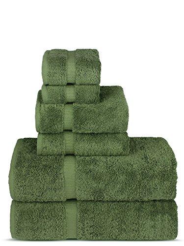 Chakir Turkish Linens Luxury Spa and Hotel Quality Premium Turkish Cotton 6-Piece Towel Set (2 x Bath Towels, 2 x Hand Towels, 2 x Washcloths, Moss)