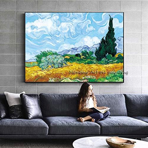 wZUN Il Campo di Grano più Alto di Van Gogh e la Pittura di Paesaggio impressionista sul Muro di cipressi 60x90 Senza Cornice