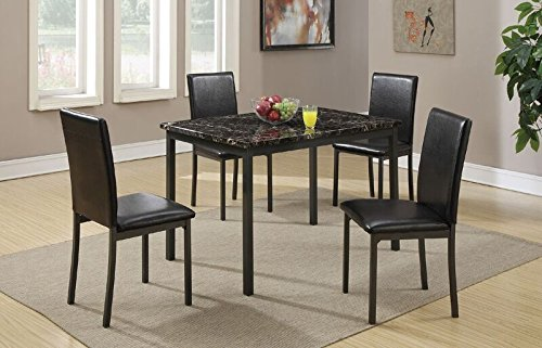 Poundex Dining Table with Black Marble Finished Top and 4 Chairs, Multicolor