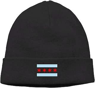 Riokk az Chicago Flag Skull Hat Knit Cap Men Black